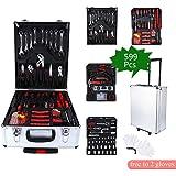 Set di Strumenti di Riparazione, 599PCS Home Tool kit Set Auto Manutenzione Attrezzi per Bricolage e Riparazione Ruote Trolley Porta Attrezzi con Custodia