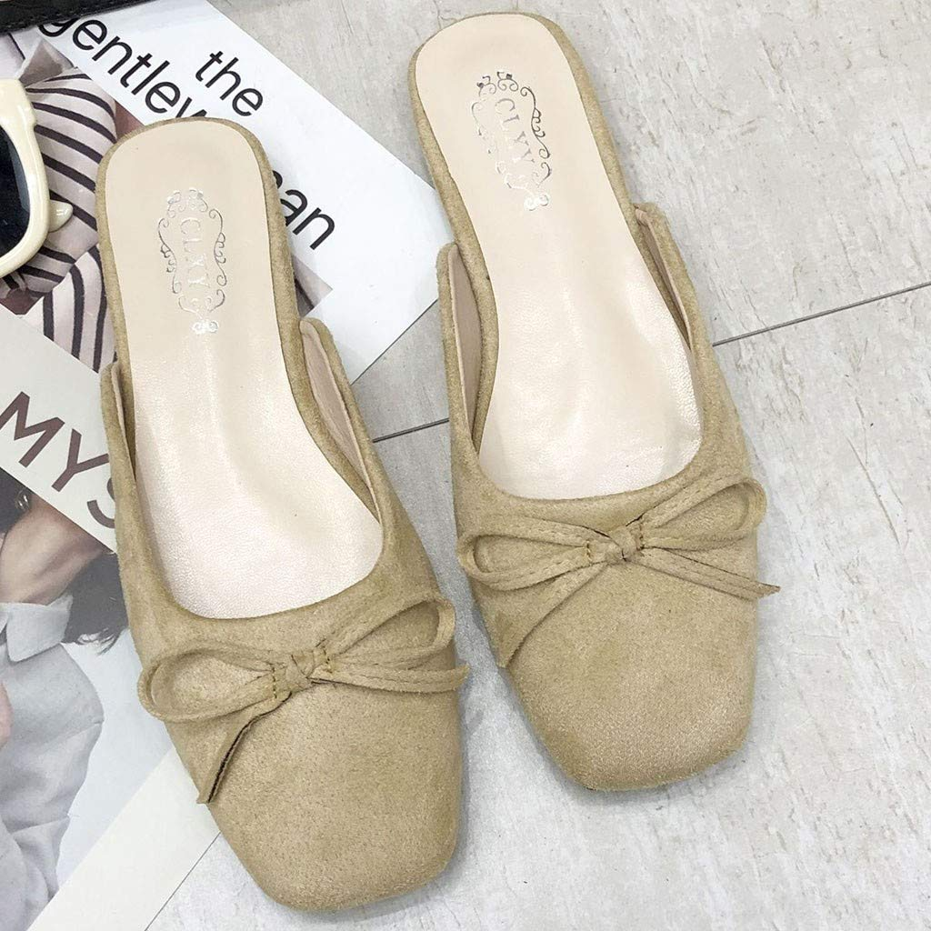 Women Girls Slingback Loafers Slippers Comfy Flat Bow Flock Leather Single Shoes Trendy Penny Casual Square Sandals Shoes