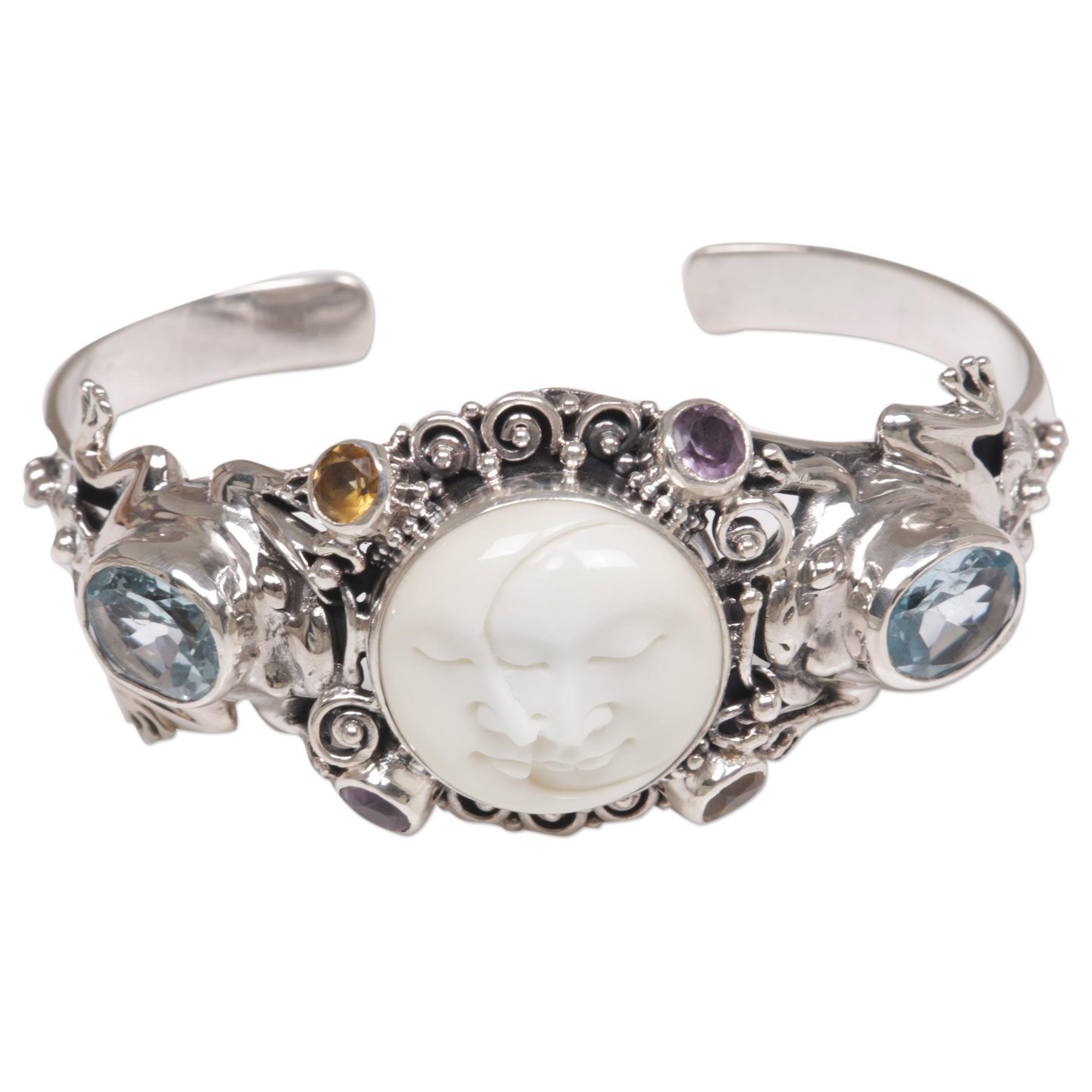 NOVICA Multi-Gem Blue Topaz .925 Sterling Silver Bone Cuff Bracelet 'Twin Sister'