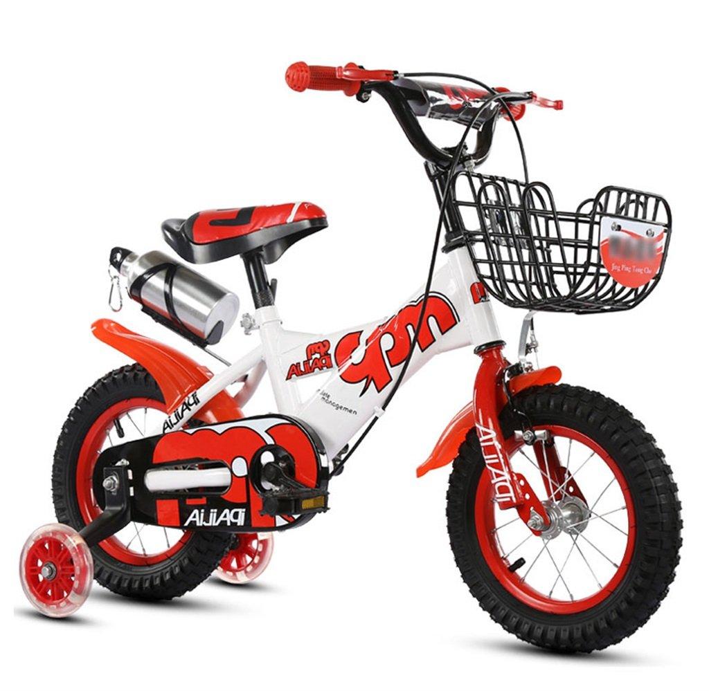 子供の自転車12|14|16|18インチアウトドアの子供ベイビーキッドマウンテンバイクフラッシュトレーニングホイールで2歳から10歳の男の子の女の子の贈り物|アイアンバスケット|水ボトル調整可能な安全な負荷100KG B078GPKK6B 16 inches|赤 赤 16 inches