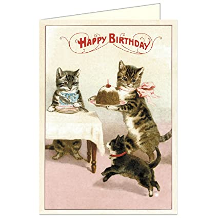 Cavallini Co Happy Birthday Cat Greeting Card