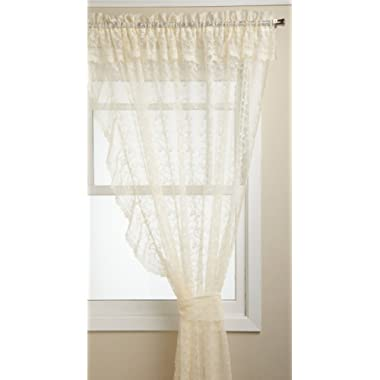 LORRAINE HOME FASHIONS Priscilla 60-inch x 63-inch Layered Ruffled Panel, Ivory