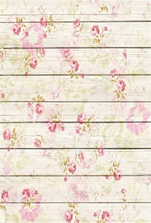 Leowefowa 3x5FT Floral Backdrop Vinyl Photography Background Retro Flowers Pattern On Shabby Chic Texture Stripes Wood