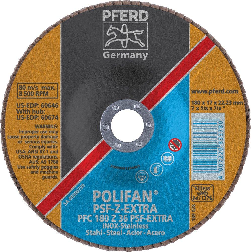 7//8 Arbor Hole 7 Diameter Zirconia Alumina 8600 rpm PFERD 60646 Polifan PSF Z-EXTRA Type 29 Conical Flap Disc 36 Grit 7 Diameter 7//8 Arbor Hole PFERD Inc.