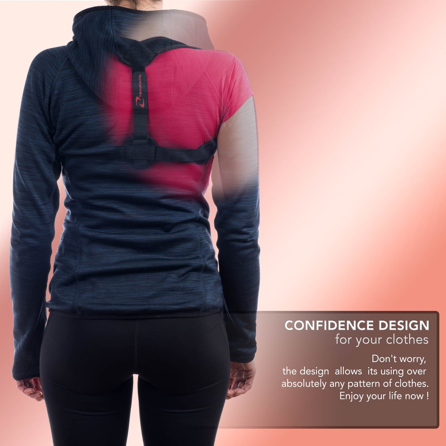 Hexaforms Back Posture Corrector for Women & Men - Effective and Comfortable Posture Brace for Slouching and Hunching - Clavicle Support for Upper Back & Shoulder Pain Relief - Medical Problems by Hexaforms (Image #4)