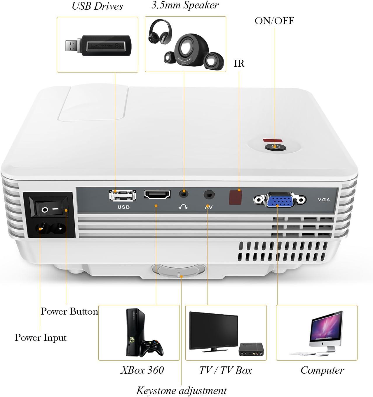 TENKER rd805 LCD Mini Projector Blanco Blanco: Amazon.es: Informática