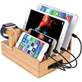 InkoTimes Bamboo Charging Station Dock Organizer for Apple Watch, iPhone, iPad, Universal Cell Phones and Tablets, Compatiable with Anker, RAVPower, PowerAdd, 4/5/6-Port USB Charger