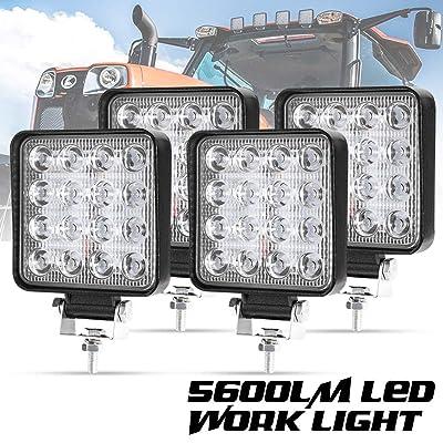 Liteway 4 Pcs LED Work Light - 4 Inch 80W Flood LED Light Bar for Tractor Offroad 4WD Truck ATV UTV SUV Driving Lamp Daytime Running Light, 1 Year Warranty: Automotive
