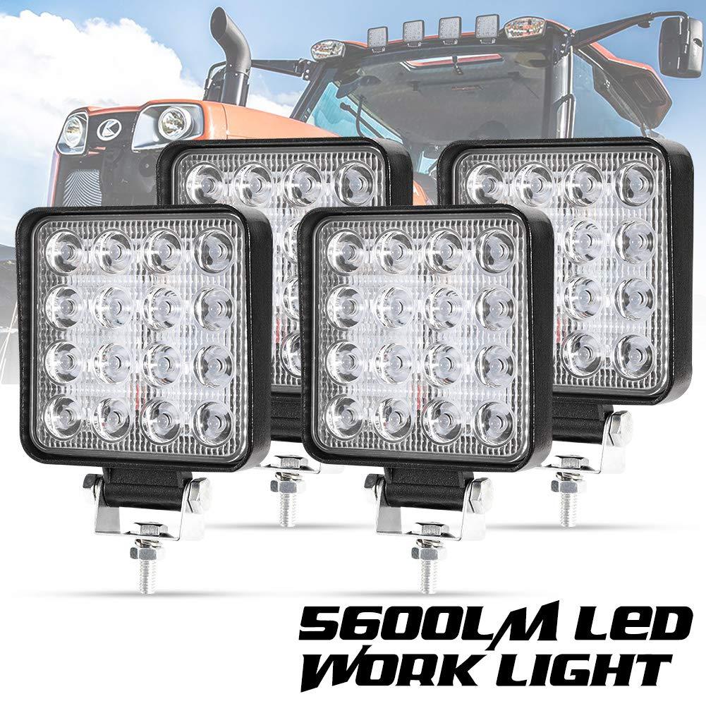 Liteway 4 Pcs LED Work Light - 4 Inch 80W Flood LED Light Bar for Tractor Offroad 4WD Truck ATV UTV SUV Driving Lamp Daytime Running Light, 5 Years Warranty