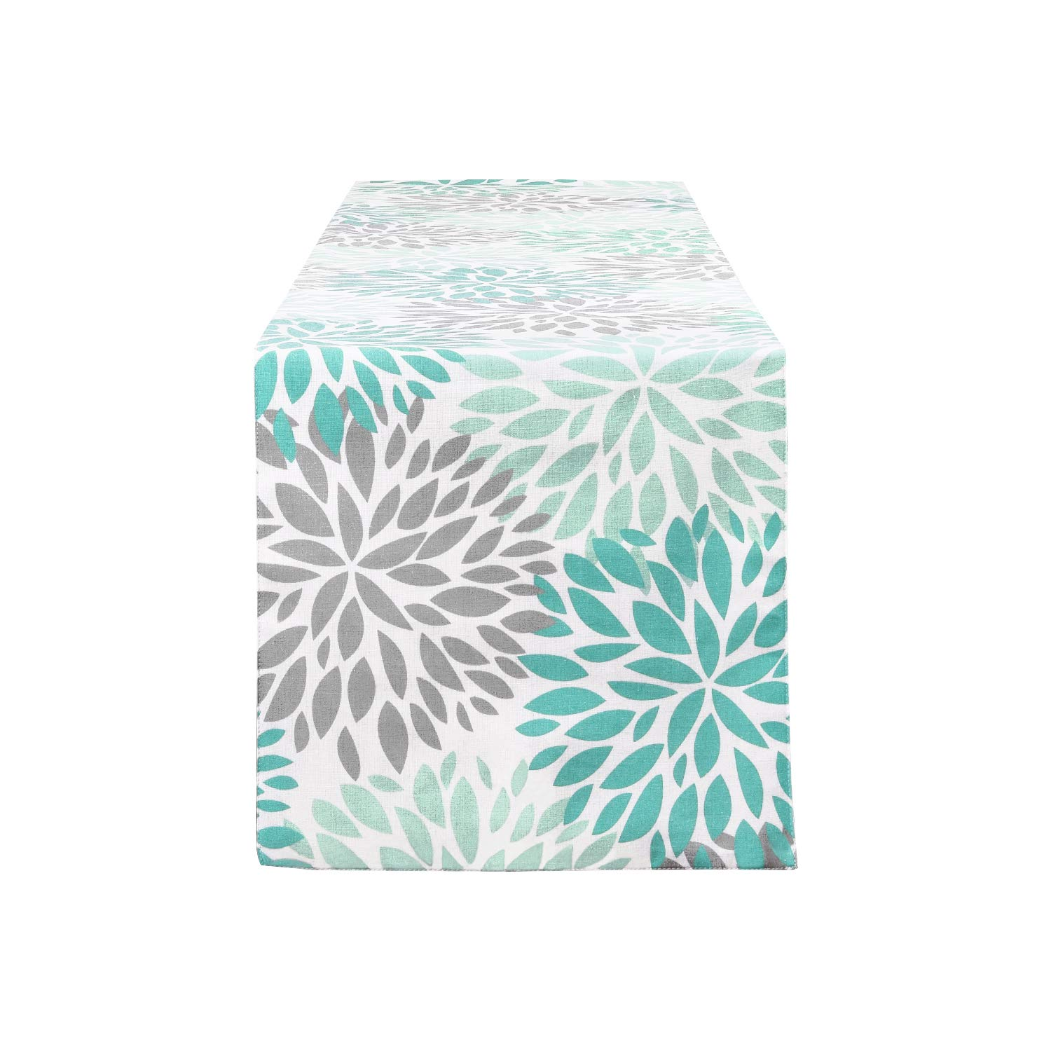 Smurfs Yingda Dahlia Pinnata Table Runner Green and Gray Print Flower Table Runners for Catering Events, Dinner Parties, Wedding, Spring Holiday, Indoor and Outdoor Parties