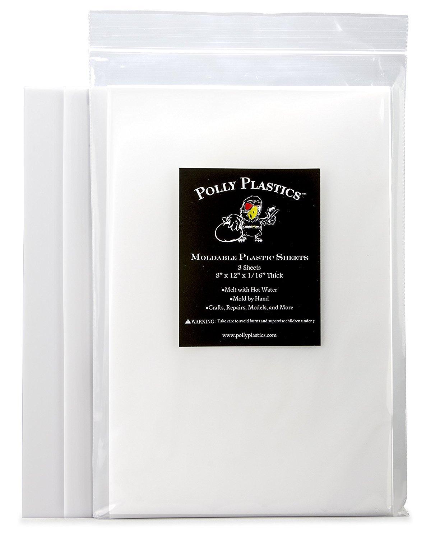 Polly Plastics Heat Moldable Plastic Sheets 3 Sheets 8 x 12 x 1//16