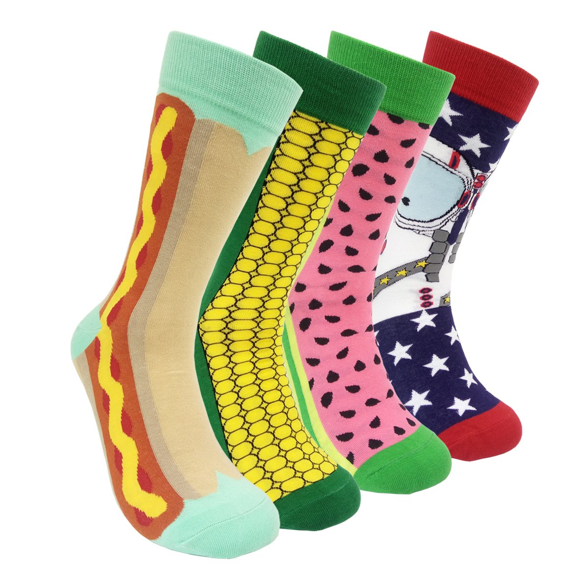 Colorful Mens Dress Socks Funky – HSELL Men Multicolored Crazy Pattern Fashionable Fun Crew Socks 4 Pack (C2)