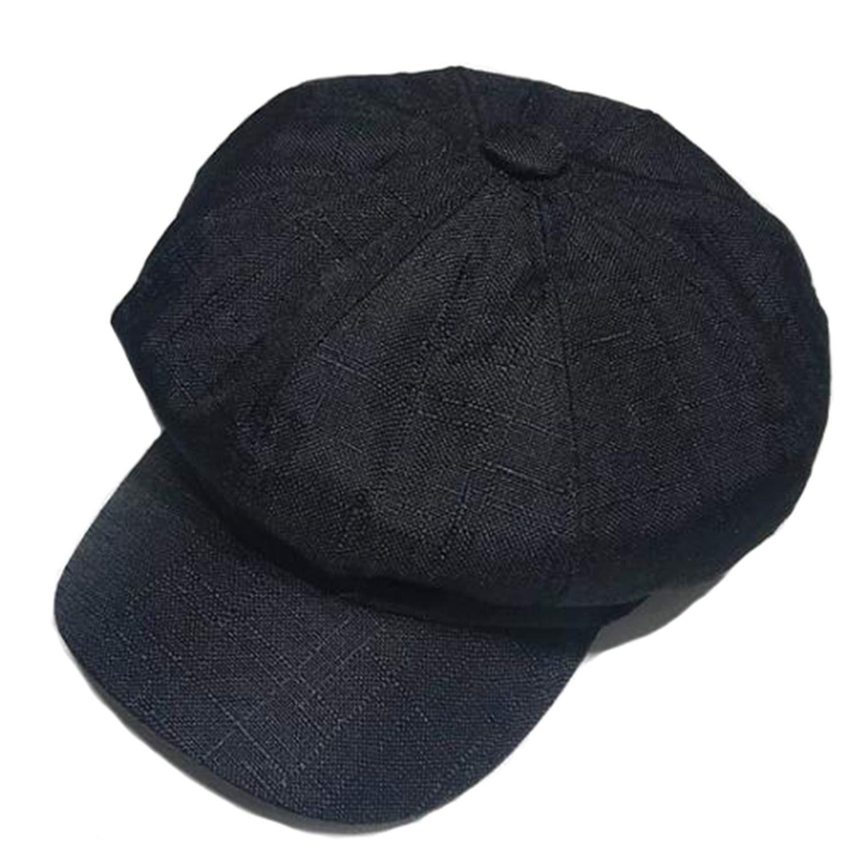 94c490e8b Linen Newsboy Cap Women Vintage Octagonal Men British Style Hat Grey ...