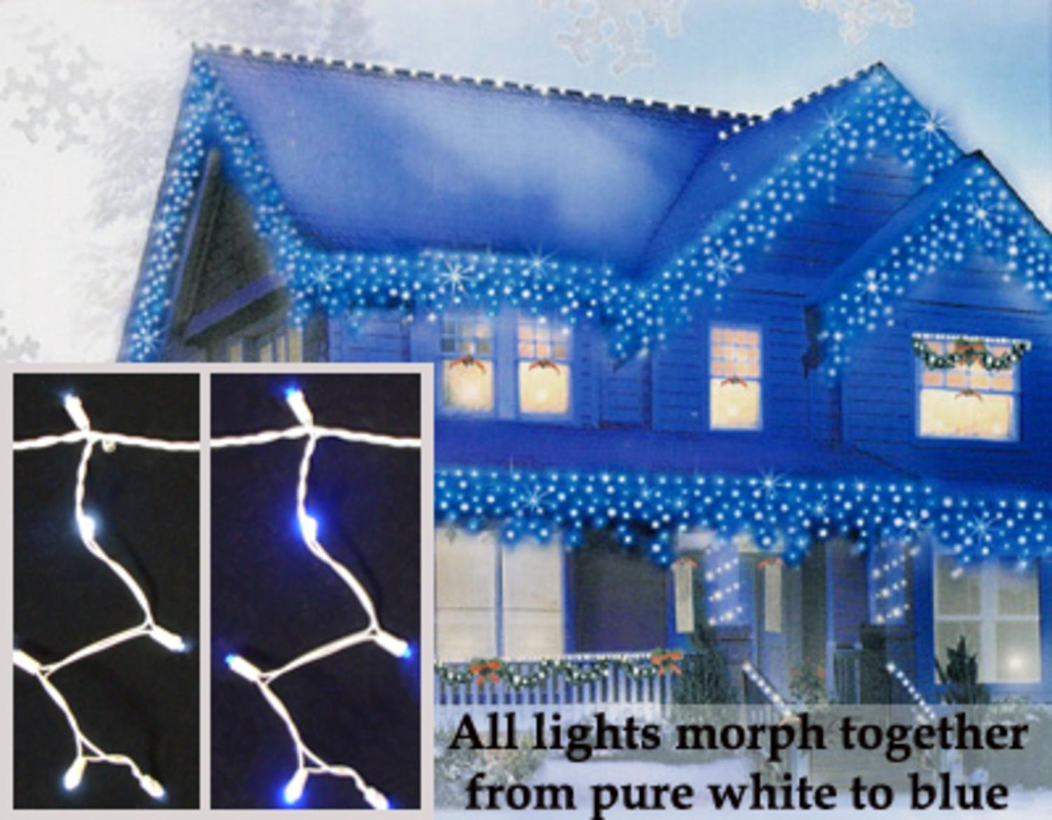 amazoncom set of 100 led bluepure white color changing wide angle icicle christmas lights string lights garden outdoor - Led Blue Christmas Lights