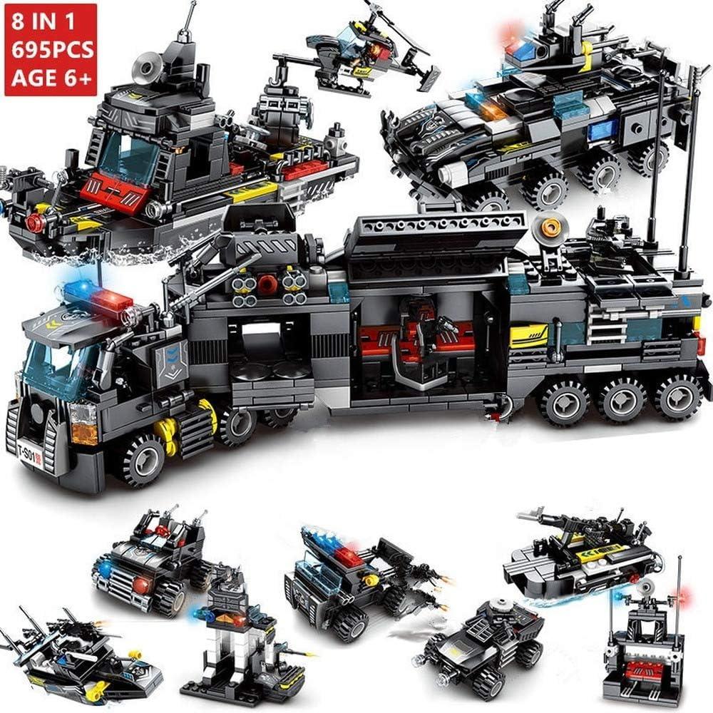 725 pcs City Police Station Building Blocks Legoingly City SWAT Team Truck Block