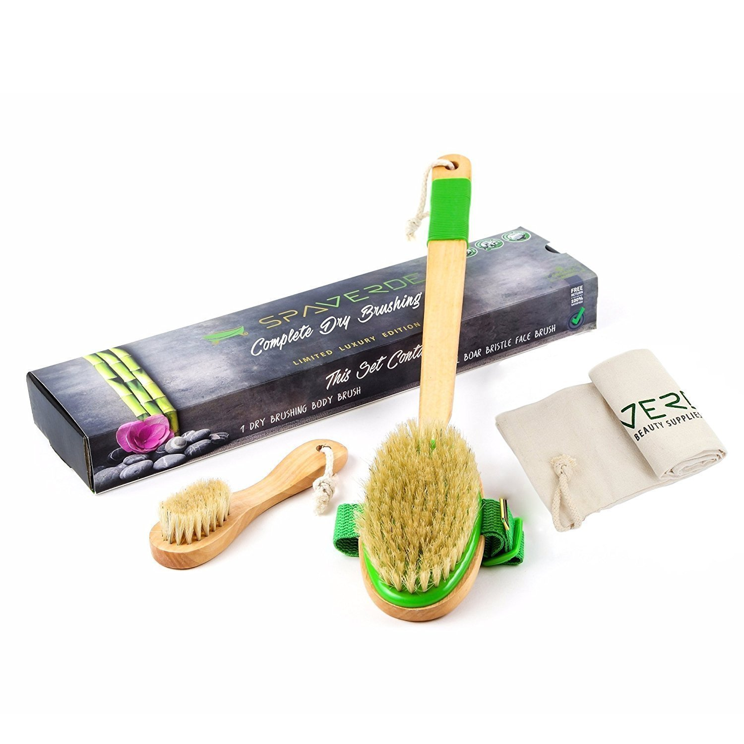 Dry Brushing Body Brush - Natural Boar Bristle Dry Brush Set for Body and Face Brushing - Skin Brush that Revitalizes and Rejuvenates - Aids Lymph Flow, Alleviates Cellulite and Eliminates Toxins SpaVerde MSKU-2