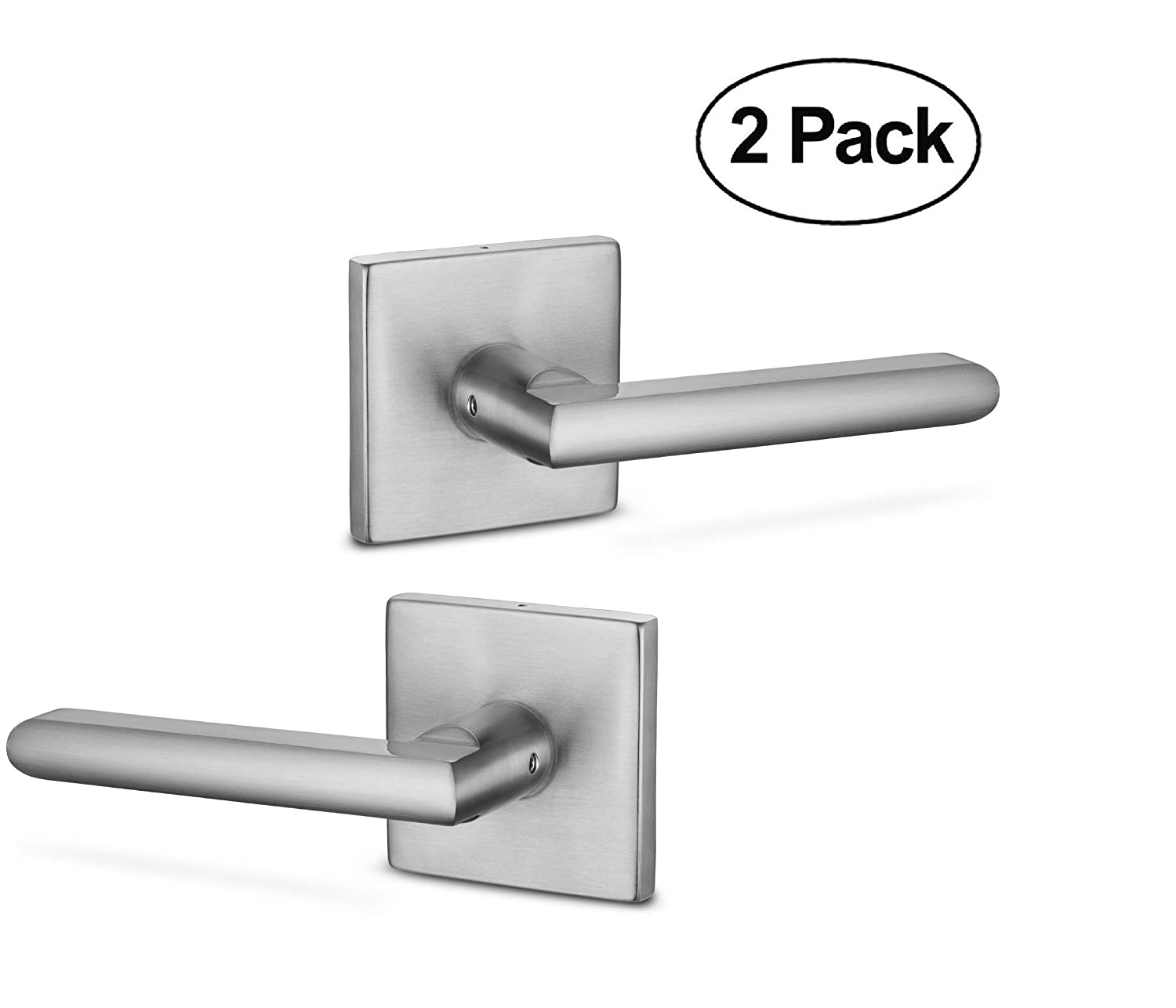 Berlin Modisch Dummy Lever Door Handle Pack of 2 Slim Square Non-Turning Single Side Pull Only Lever Set [for Closet or French Doors] Heavy Duty - Iron Satin Nickel Finish