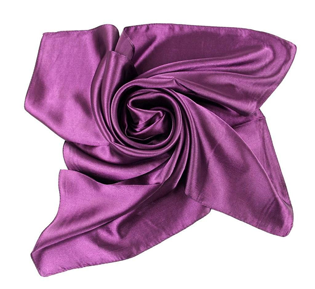 b581e84ec0e0 Xiang Ru Femme Été Grand Foulard Carré Couleur Uni en Soie Imité ...