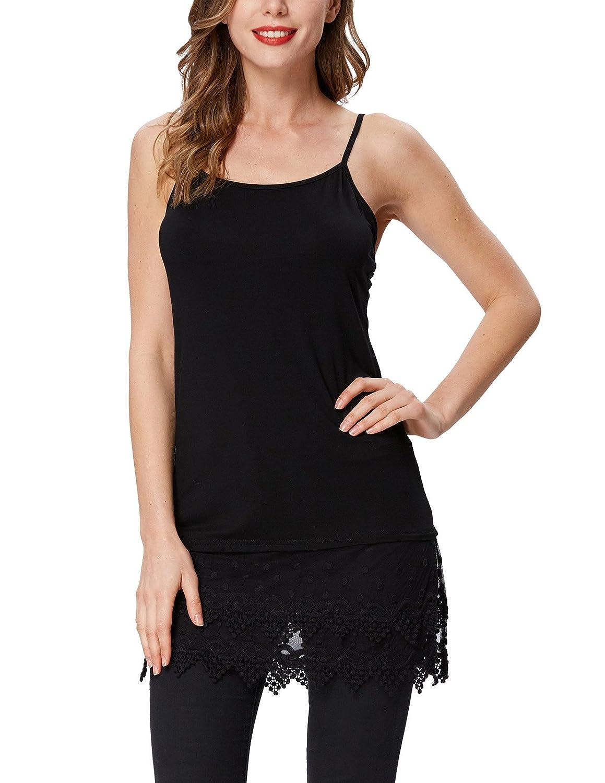 d2dfd923f07491 Women s Extender Camisole Dress Shirt Full Slips Lace Trim Adjustable  Spaghetti Tunics Tank Top at Amazon Women s Clothing store