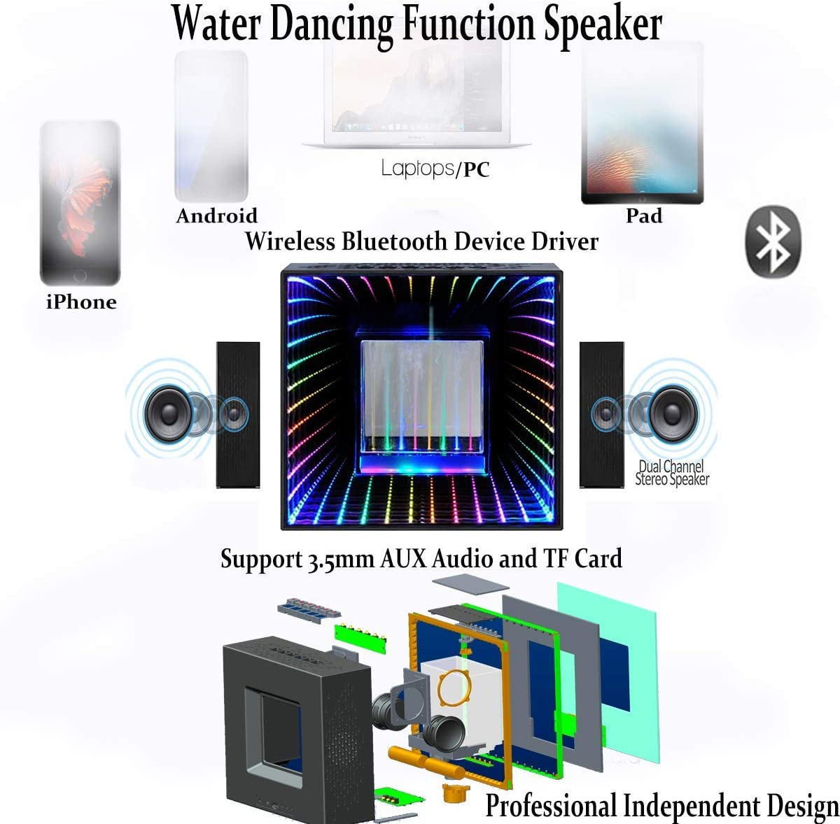 Wireless Speakers with LED Lights