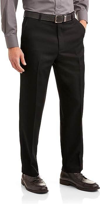 Amazon Com George Pantalones De Vestir De Microfibra Para Hombre Negro Clothing