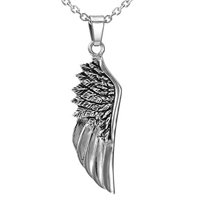 51035c7c0e257 Urban-Jewelry Sparkling Stainless Steel Silver Angel Wing Pendant Necklace  for Men