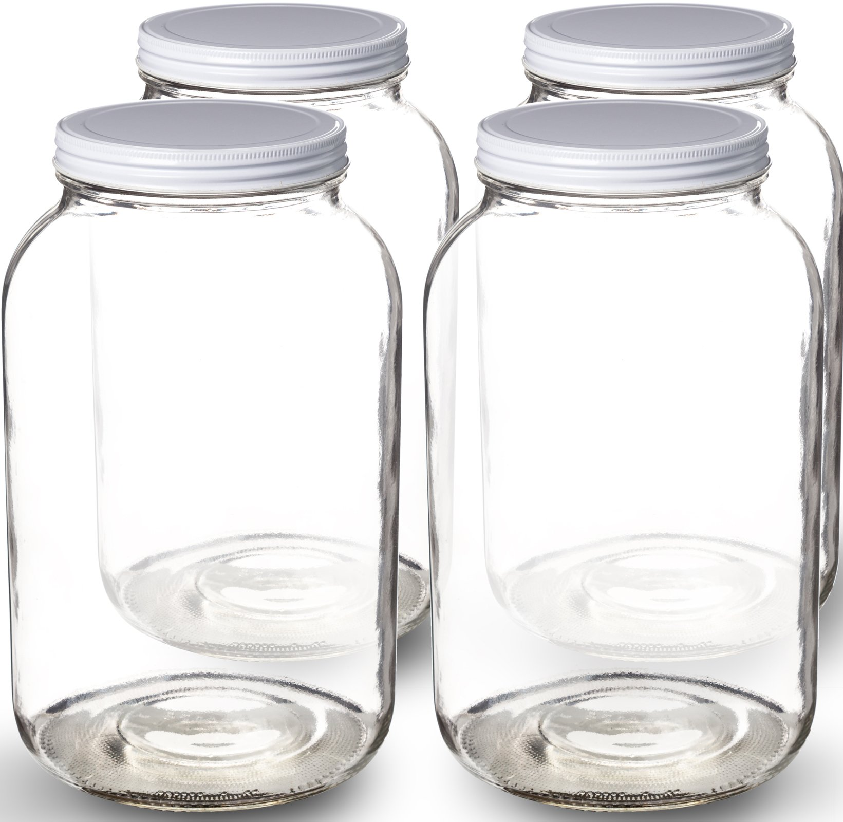 Paksh Novelty Wide Mouth 1 Gallon Clear Glass Jar + Metal