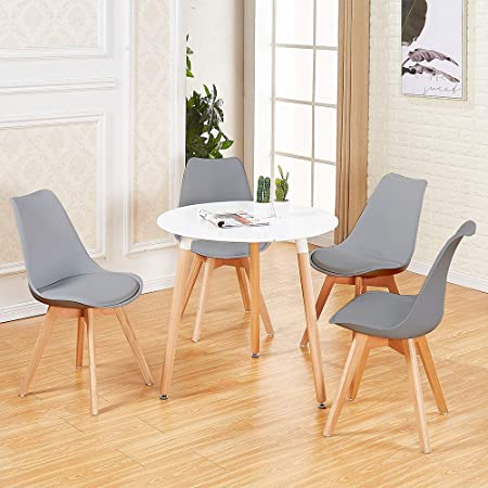 DORAFAIR Pack de 4 Sillas & Mesa, Juego de sillas de Comedor,Comedor de diseño nórdico, Gris: Amazon.es: Hogar