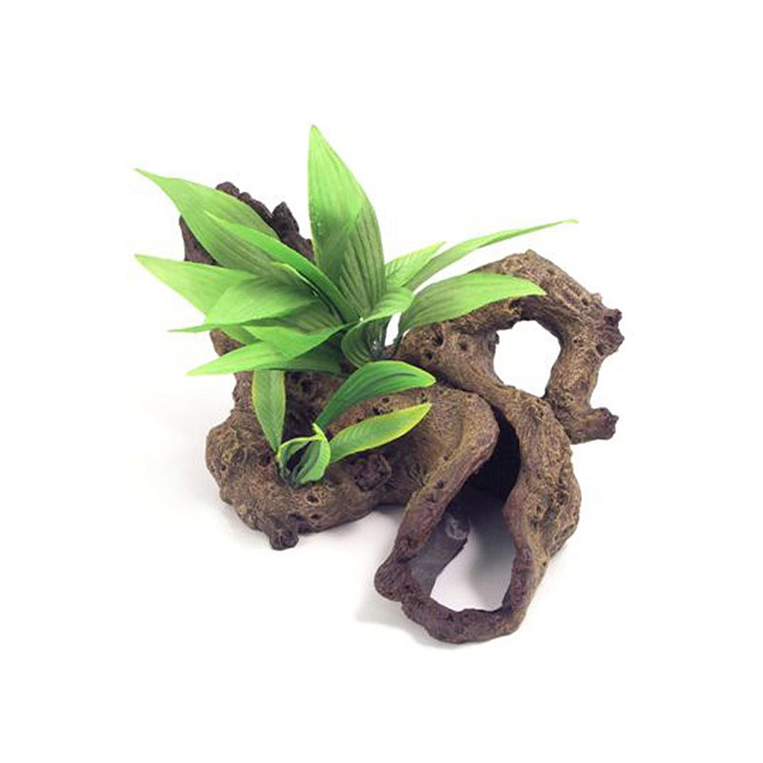 Brown Green Large Brown Green Large pinkwood bluee Ribbon Decor Mopani Wood With Plants Ornament (Large) (Brown Green)