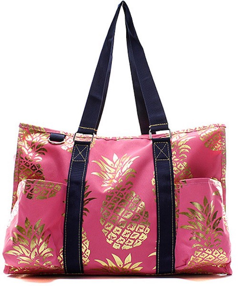 N. Gil All Purpose Organizer 18 Large Utility Tote Bag 3-2017 Spring New Pattern (Gold Pineapple Pink)