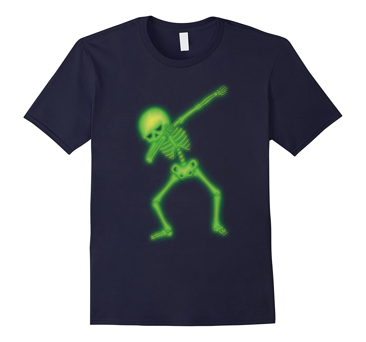 Dabbing Skeleton Faux Green Glow Halloween Costume Shirt-FL