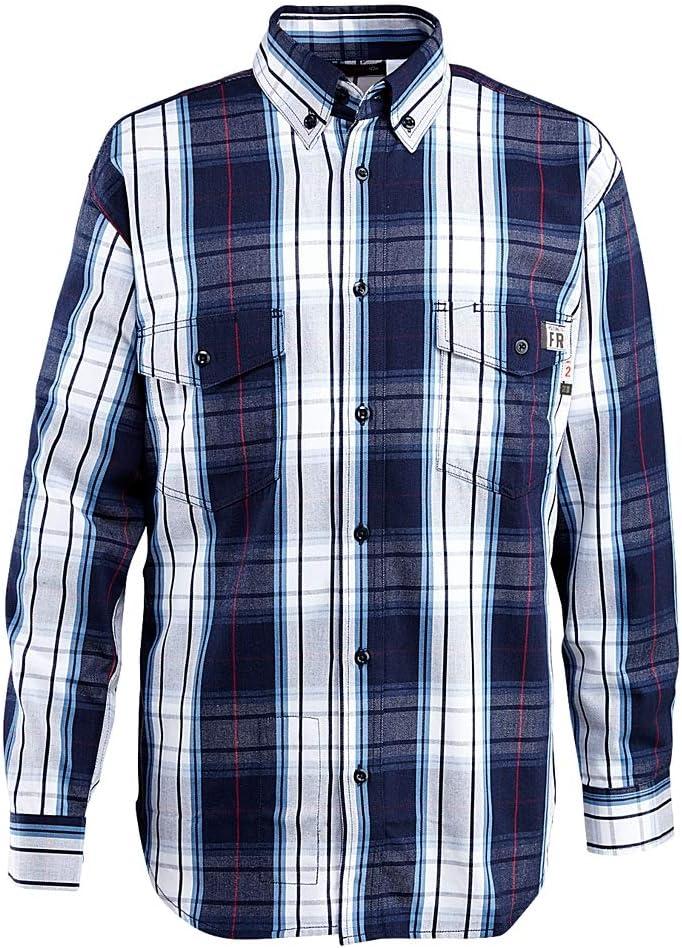 3X Mens WOLVERINE FR Plaid Long Sleeve Twill Shirt