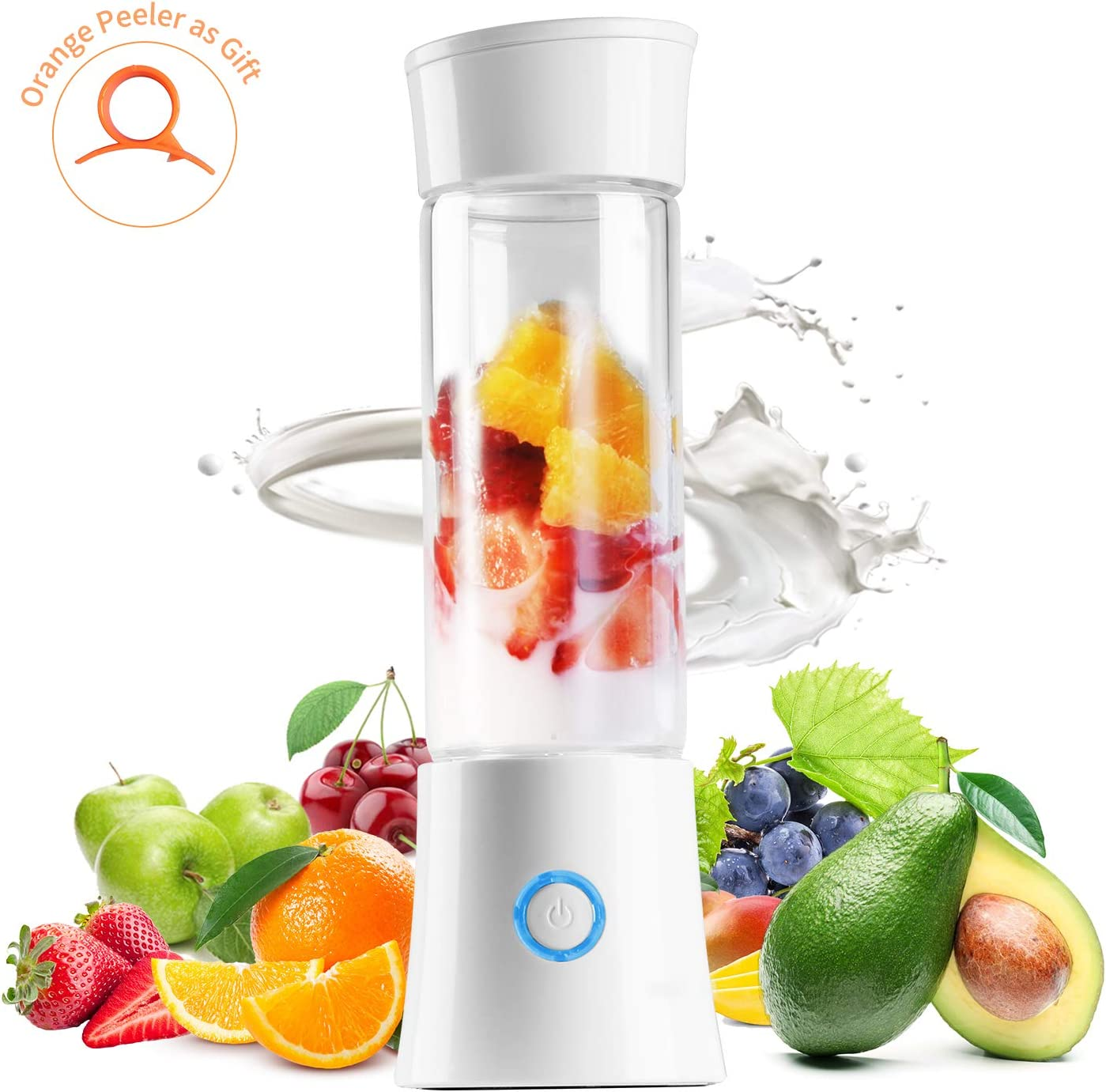 Yeaky Portable Blender, Powerful Personal Blender for Smoothie and Shakes, 16oz Juicer Cup with Detachable Base, Mini Blender Jet USB Rechargeable with Glass Bottle for Baby Food, Home Outdoor Office and Travel (white)