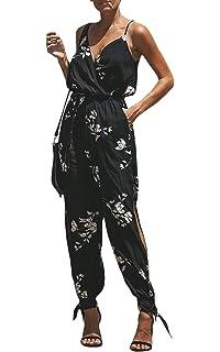 925b7b1f017 ECOWISH Damen Jumpsuit V Ausschnitt Overall Blumen Ärmellos Playsuit Split  Hosenanzug Romper Frühling Sommer