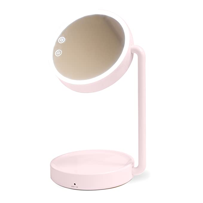 Lighted Makeup Mirror   Vanity Mirror LED Lighted   Cosmetic Mirror LED Lighted   Desk makeup lamp by Syrinx (Pink)