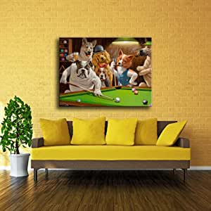 NO BRAND Impresión Moderna en Lienzo de Alta definición Perro Jugando Billar Dios Snooker Pintura al óleo Arte Decoración del hogar-30X40cm sin Marco: Amazon.es: Hogar