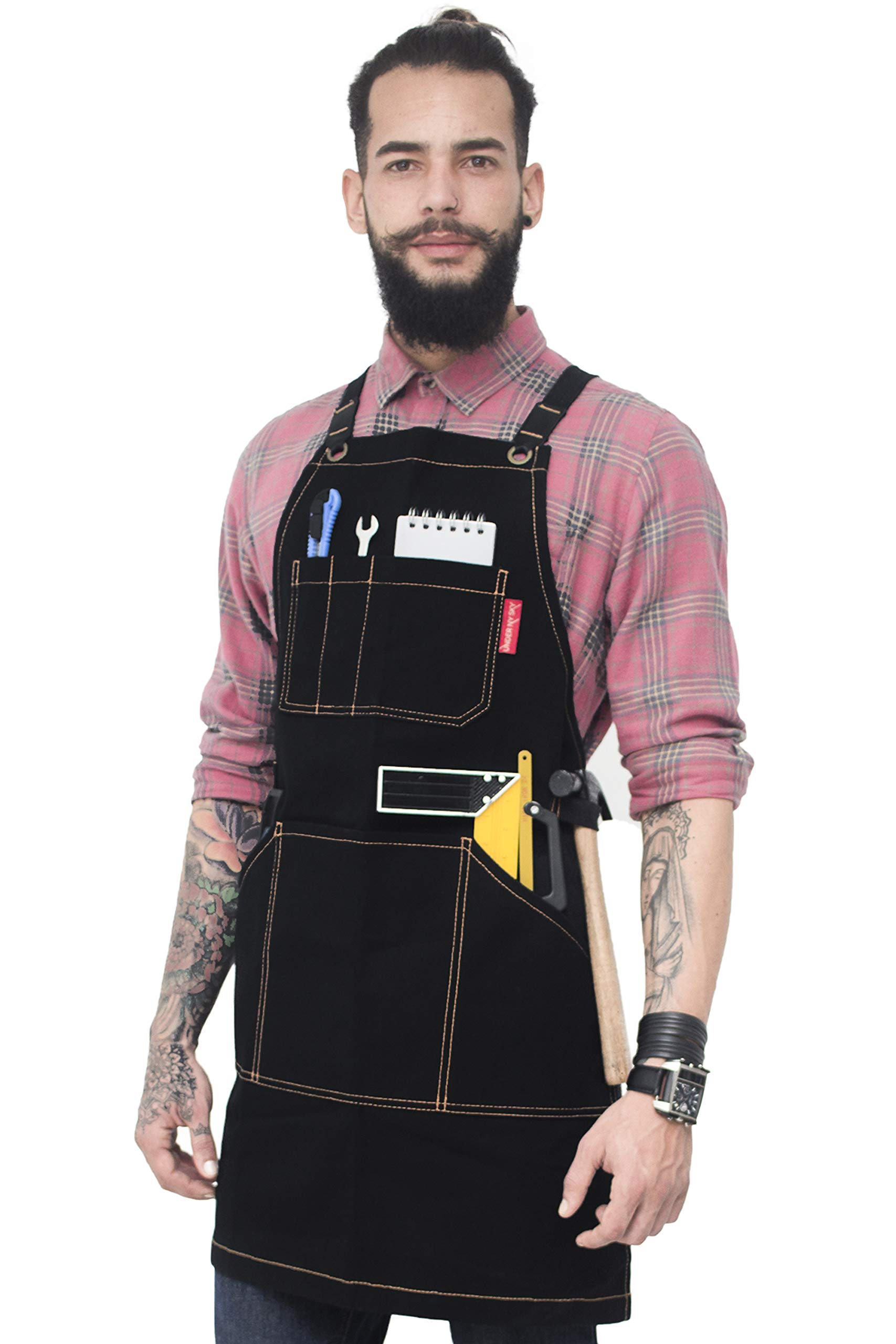 Under NY Sky Essential Black Apron – Heavy Duty Waxed Canvas, Cross-Back with Split-Leg, Leather Reinforcement – Adjustable for Men, Women, Pro Mechanic, Welding, Woodwork, Blacksmith, Server Aprons