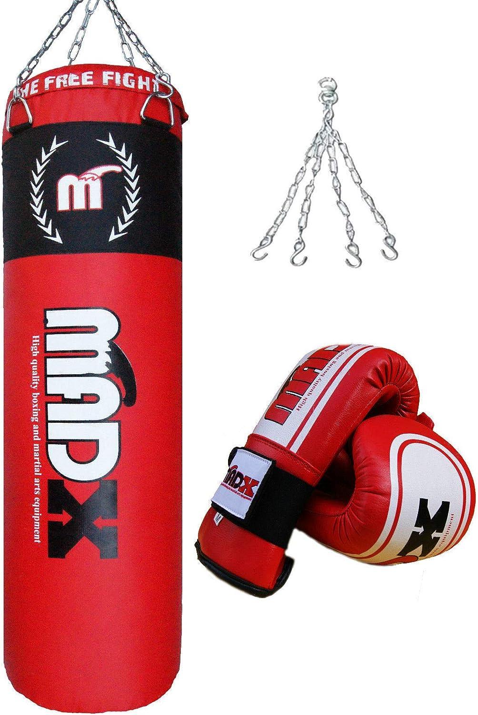MADX - Set de boxeo, piezas, saco de 1,52 m con relleno, guantes, cadena, soporte