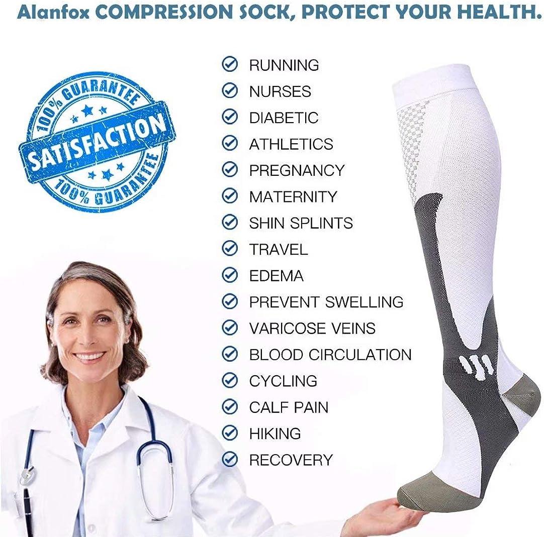 Alanfox 3 Pair Compression Socks Women Men 20-30mmHg for Athletic Nursing Medical Travel-Boost Stamina,Circulation /& Recovery
