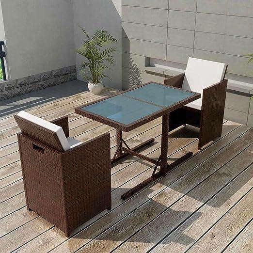 Tidyard Conjunto Muebles de Jardín de Ratán 7 Piezas Sofa Jardin Exterior Sofas Exterior Conjunto Jardin para Jardín Terraza Patio en Poli Ratán Marrón: Amazon.es: Hogar