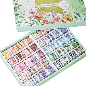 100 Rolls Kawaii Washi Paper Masking Tape Set Marine Life Planet Cloud Green Plant Floral Food Drink Decorative Stickers DIY Label for Art Craft Scrapbooking Letter Card Gift Packing