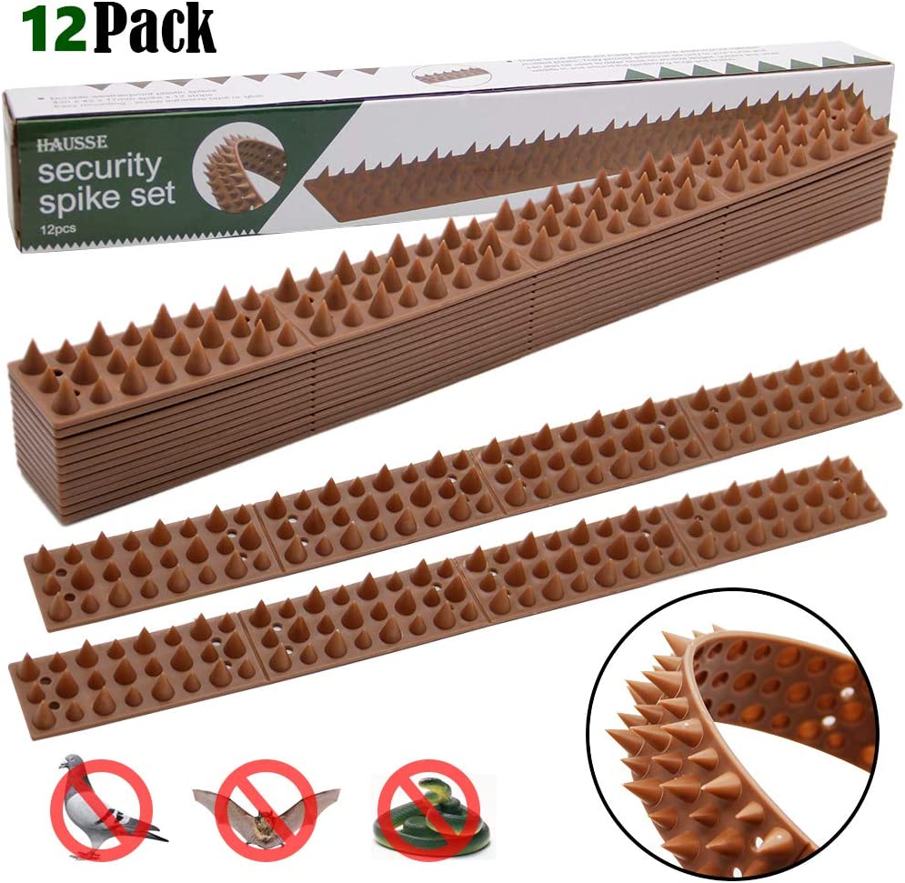 Hausse 16.5ft Bird Spikes, Squirrel Small Birds Pigeons Repellent Spikes for Outdoor, Wall, Fence (Set of 12)