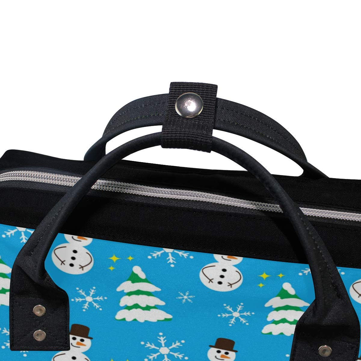 imobaby Cute Snowman And Trees Changing Bags Large Capacity Handbags Canvas Shoulder Bag Backpack