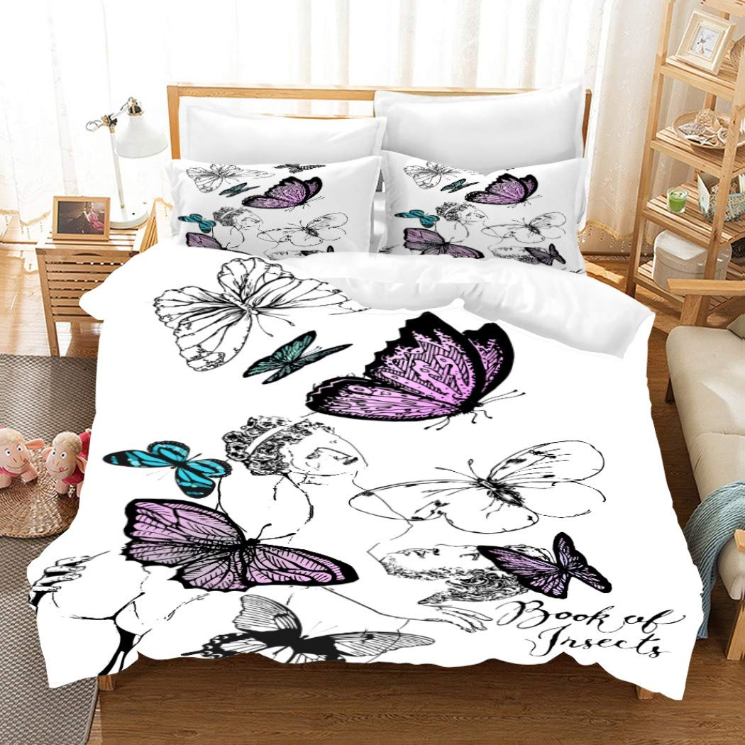MOUMOUHOME Simple and Stylish Girls Butterfly Bedding for Girls,3D Green/Blue/Black/Purple Butterflies Print White Comforter Set Twin Size No Comforter