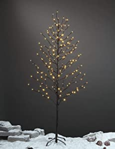LIGHTSHARE 5Ft 200L Lighted Star Light,Warm White, Brown Branch