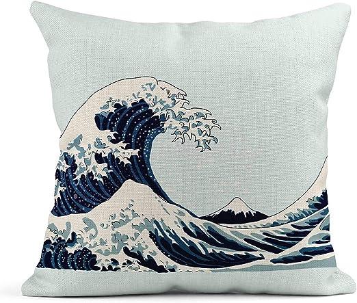 Kinhevao Cojín Azul Patrón Ola Japonés de Acuarela Mar Dibujo ...
