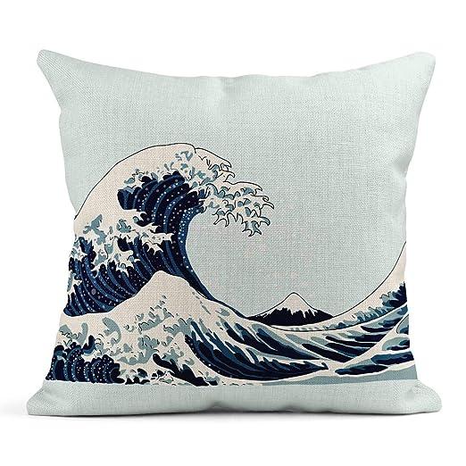 Kinhevao Cojín Azul Patrón Ola Japonés de Acuarela Mar ...