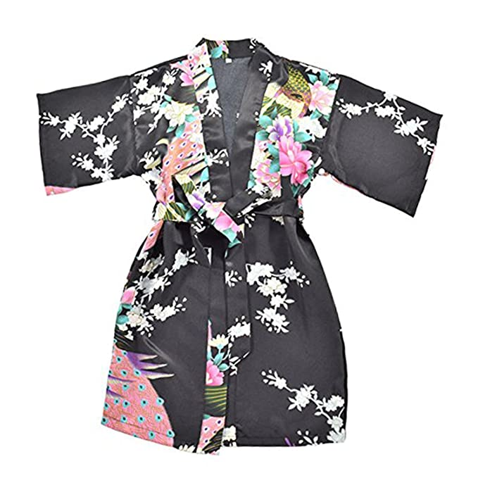 9d2bc6713d Amazon.com  Lucao Girls  Sleepwear Satin Kimono Peacock Flower Robe ...
