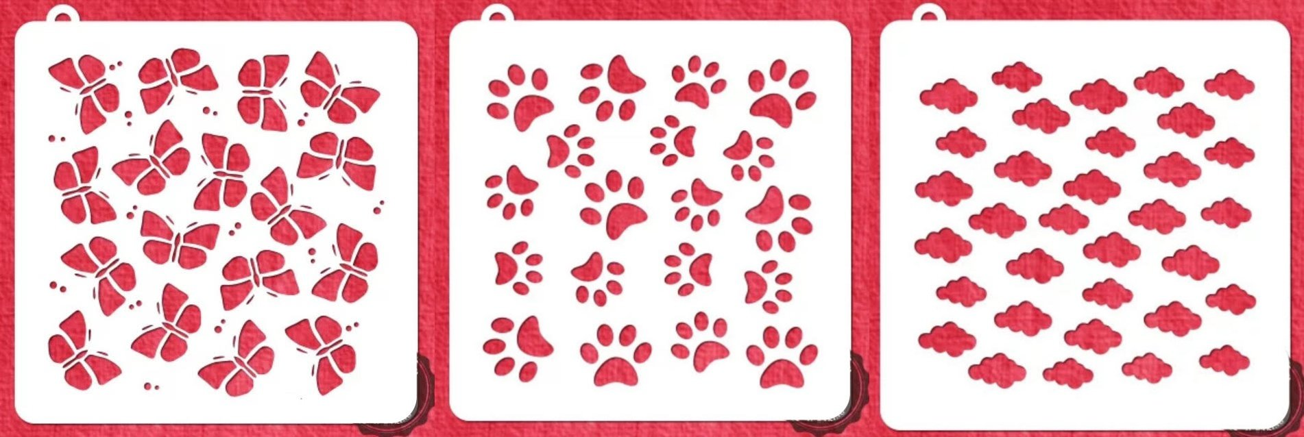 Cloud, Butterfly, Puppy Paw Print Cookie Stencil - American Confections - Set of 3