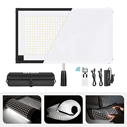 Neewer Rollable 30x53cm Flexible LED Light Panel Mat on Fabric 48W 5600K  512 LED Lighting Panel with Handle Grip, Remote Control, Diffuser Cloth,